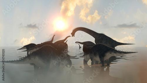 Photo dinosaurs at sunset render 3d