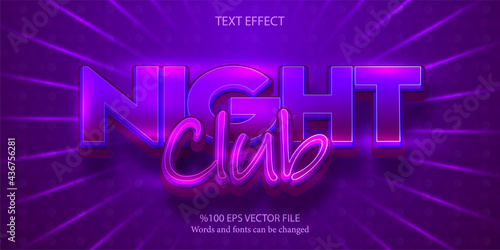 A stylish livid, misterious editable text effect: Night Club Fototapeta