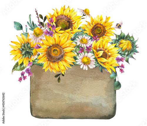 Valokuva Watercolor rustic farmhouse sunflower label