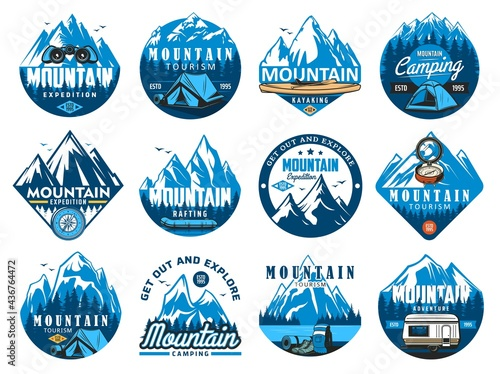 Tableau sur Toile Mountain climbing icons, rafting expedition and camping vector symbols