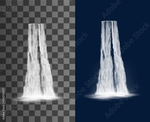 Wall mural Waterfall cascade, water fall realistic isolated vector on transparent background. Waterfall cascade from river stream, spring water falling from mountain with splashes, natural park scenery
