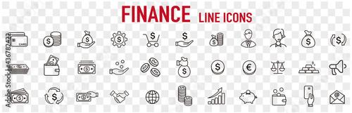 Carta da parati line icon of Vector business and finance
