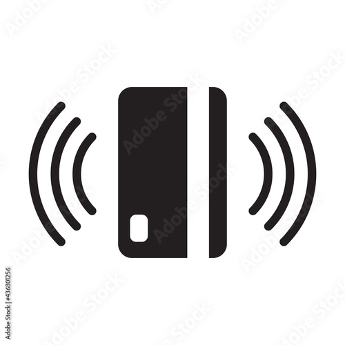 Obraz na plátně Contactless payment icon vector Near-field communication (NFC) card technology T
