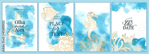 Set of wedding cards, invitation. Save the date sea style design. Blue watercolor wash. Summer background.