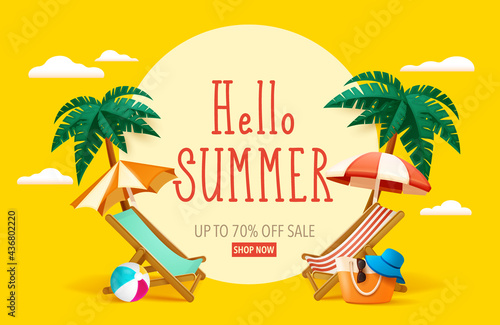Hello summer! Summer beach vacation holiday theme with big sign. Poster Mural XXL