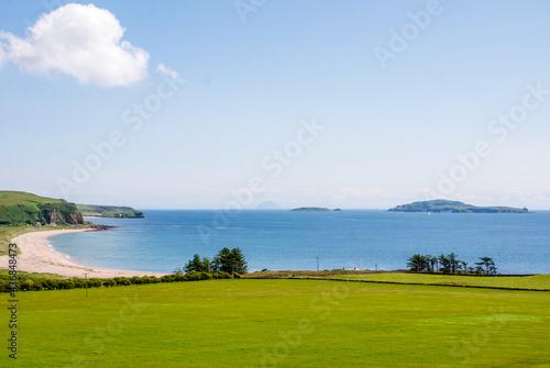 Billede på lærred Sanda Island and Ailsa Craig across Carskiey Bay Kintyre
