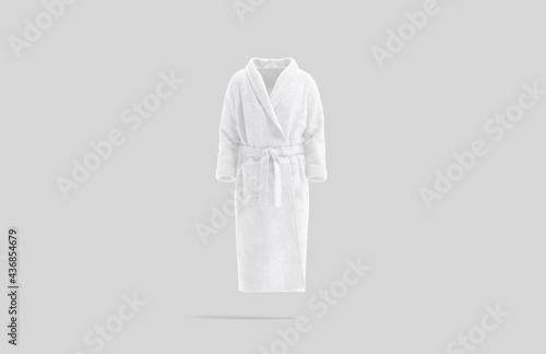 Canvas Print Blank white hotel bathrobe mock up, gray background