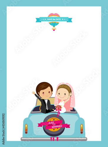 Wallpaper Mural invitation card with bride and groom