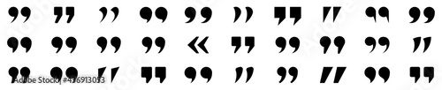 Set of quote mark. Quotes icon vector set. Quotemarks outline, speech marks, inverted commas or talking marks collection. Talk bubble speech icon. Black quotes icon. Vector illustration.