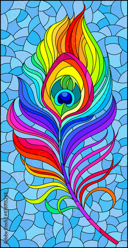 Fototapeta Stained glass illustration with a bright rainbow peacock feather on a blue backg