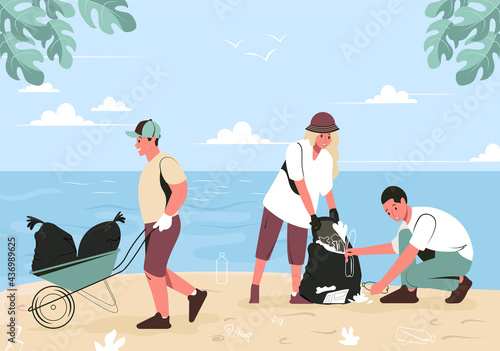 Foto A group of young people are cleaning up trash on the beach