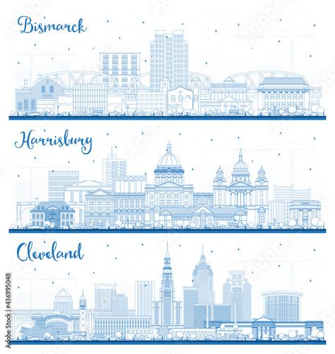 Outline Harrisburg Pennsylvania, Cleveland Ohio and Bismarck North Dakota City Skyline Set with Blue Buildings Poster Mural XXL