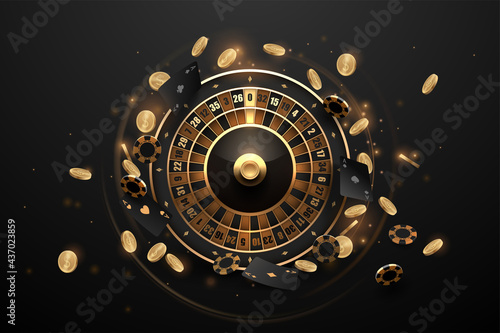Wallpaper Mural Casino roulette in black and gold style with effects
