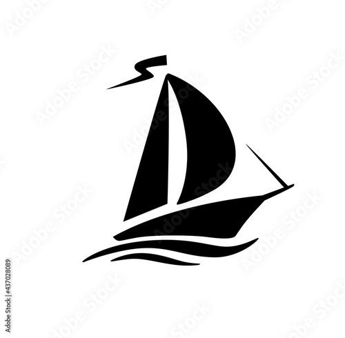Photo Sailing boat, sailboat symbol logo