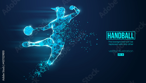 Fotografia, Obraz Abstract silhouette of a wireframe handball player from particles on the background