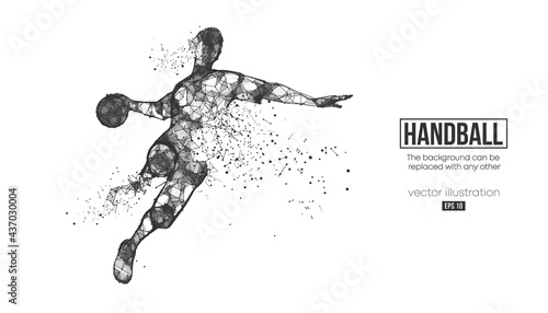 Fotografie, Obraz Abstract silhouette of a wireframe handball player from particles on the background