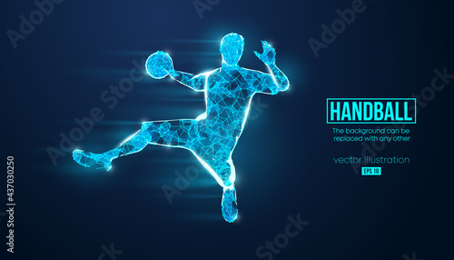 Fotografie, Tablou Abstract silhouette of a wireframe handball player from particles on the background