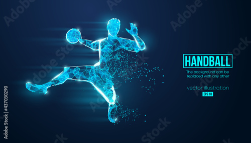 Obraz na plátne Abstract silhouette of a wireframe handball player from particles on the background