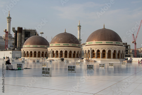 Three domes on the roof top of the Grand Mosque of Mecca. Masjid Al Haram. where Holy Kaaba is located.