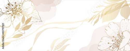 Luxurious golden wallpaper. Banner with wild rose flowers. Watercolor spots and stains on a white background. Shiny flowers and twigs. Vector file.
