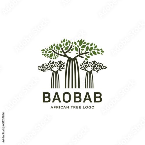 Obraz na płótnie Unique africa baobab tall tree logo icon, baobab ethnic tree of life logo icon t