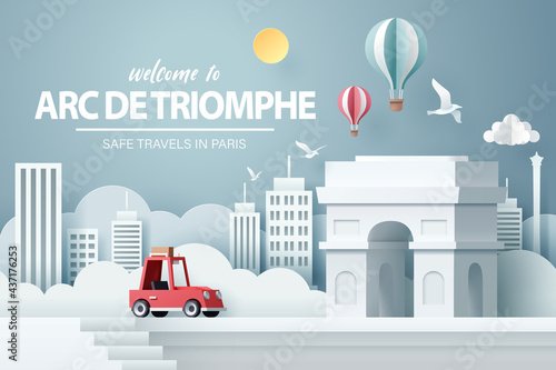 Fotografie, Obraz Paper art of red car take travel to Arch of triumph in Paris after Covid-19 outb