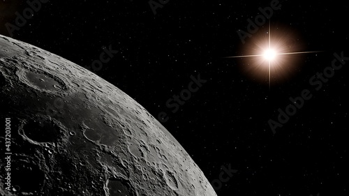 Canvastavla realistic moon in space, realistic moon surface, moon craters 3d render