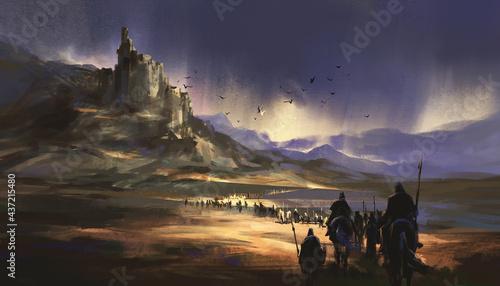 Fotografiet A legion marching towards the medieval castle, 3D illustration.