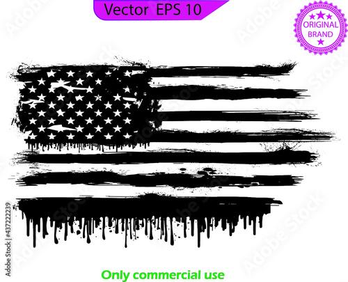 American Flag Dripping Paint Design Fototapeta