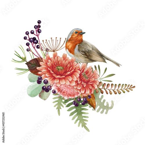 Wallpaper Mural Floral arrangement with robin bird