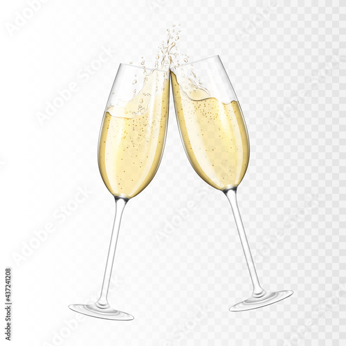 Murais de parede Transparent realistic two glasses of champagne, isolated.