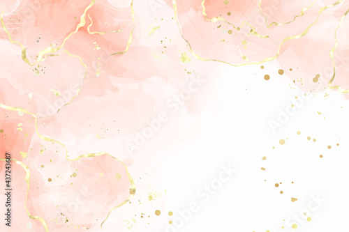 Abstract dusty blush liquid watercolor background with golden cracks and stains. Pastel pink marble alcohol ink drawing effect. Vector illustration design template for wedding invitation