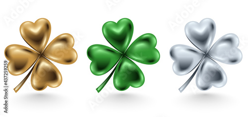 Fotografía Golden, green and silver clover leaf isolated on white background, vector illustration for St