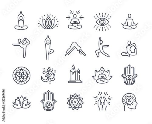 Canvas Print Yoga and meditation practice vector line icons