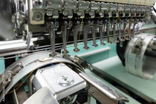 Murais de parede Embroidery machine needle in Textile Industry at Garment Manufacturers, Embroide