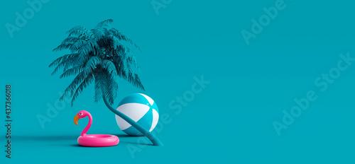 Fotografija Pink flamingo and palm tree on blue summer background 3D Rendering, 3D Illustrat