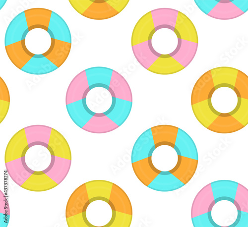 Seamless vector pattern with colorful floating rings. #437378274