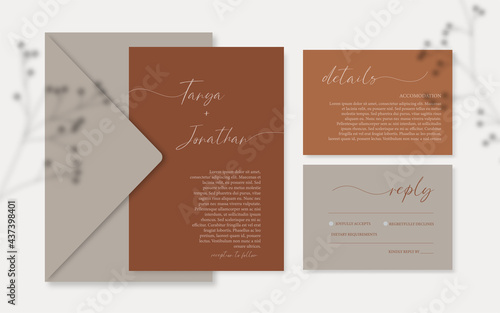 Canvas Print Terracotta wedding invitation set template with details and rsvp cards, Dusty rust invitation