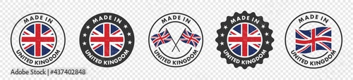 Photographie set of made in the united kingdom labels, made in the britain logo,  united kingdom flag , england product emblem, Vector illustration