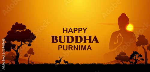 Wallpaper Mural Lord Buddha in meditation for Buddhist festival with text in Hindi meaning Happy