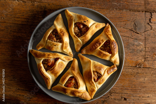 Homemade Fatayers. Empanadas Arabes Fotobehang