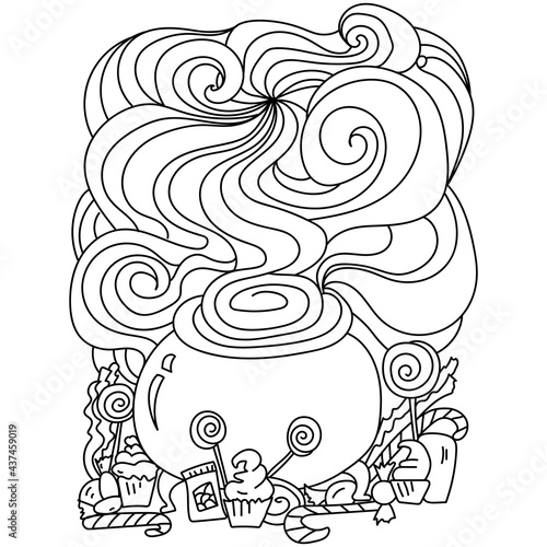 Halloween coloring page, magic cauldron and sweets online for kids activity Fototapeta