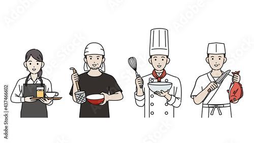 Foto 料理人 シェフ 調理師 飲食店の店員 人々 イラスト素材