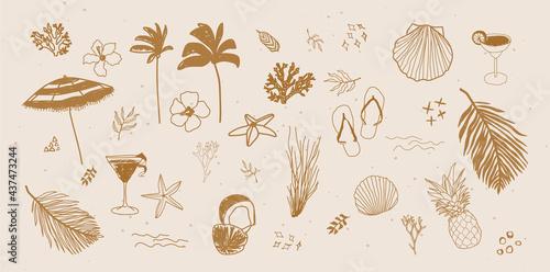 Fotografering Vector set of tropical summer hand drawn elements for social media and web desig