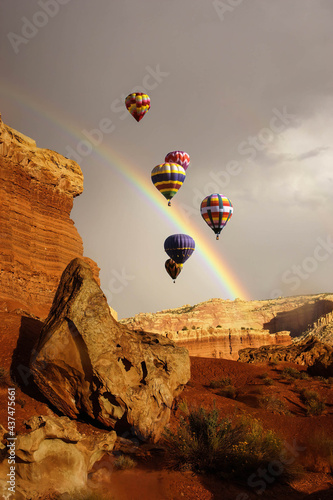 Wallpaper Mural Rainbow and brief dramatic sunshine