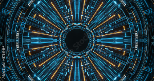 Foto Futuristic HUD Scanner with Rotation. High Tech. 3D rendering