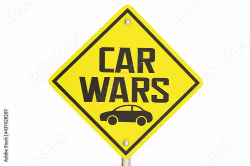 Vászonkép Car Wars Sign Battle Best Automobile Competition Sport 3d Illustration