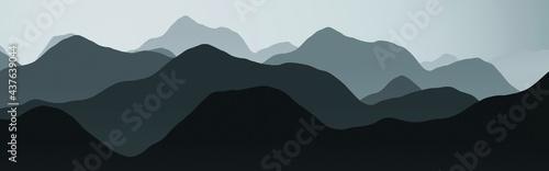Obraz na płótnie artistic hills peaks in night digital art backdrop illustration