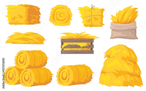 Fotografiet Bales and stacks of hay vector illustrations set