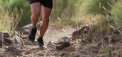 Fotografie, Tablou Athlete trail running in the mountains on rocky terrain, sports shoes detail